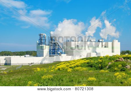 Summer Landscape With The Building Of The Modern Environmental Production