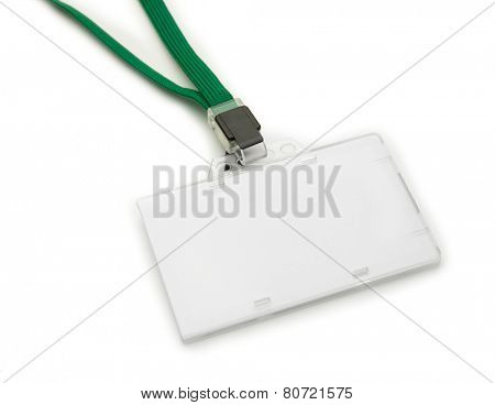 Blank ID or security card with green neck strap, isolated on white. For adding your text of your choice.