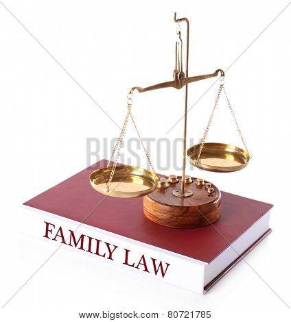 Scale on FAMILY LAW book isolated on white