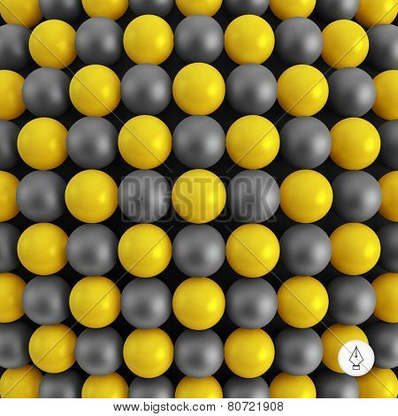 Abstract technology background with balls. Spheric pattern. 3d vector illustration.