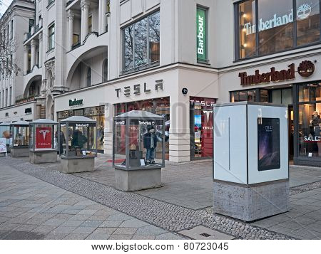 Shops of Barbour, Timberland and Tesla, Kurfürstendamm, Berlin, Germany