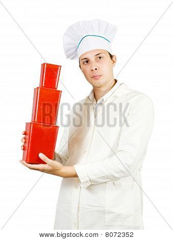 Cook Man With Red Packages
