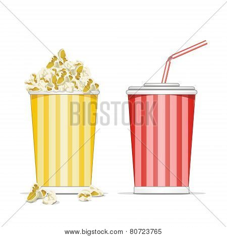 Vector illustration of popcorn in a red box