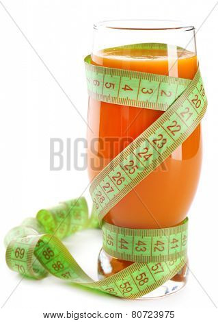 Dietary carrot cocktail with centimeter isolated on white