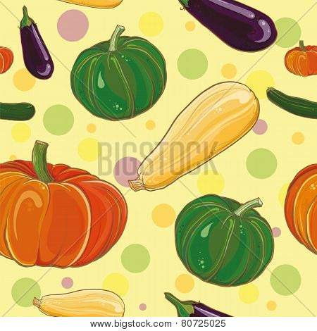 Vector Seamless Pettern With Eggplant, Pumpkin, Squash And Zucchini