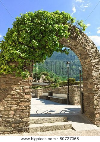 Stone Arch In The Historic Center Of Andorra La Vella