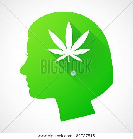 Female Head Silhouette Icon With A Marijuana Leaf