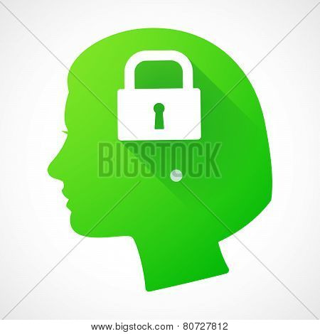 Female Head Silhouette Icon With A Lock Pad