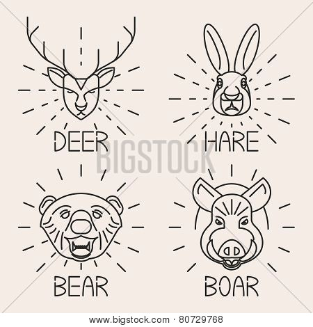 Animals line logo Set Nature Symbol Deer Bear Hare Boar Icons Isolated Vector Illustration