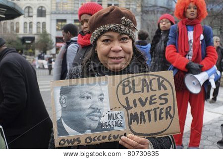 Black Lives Matter sign with MLK picture