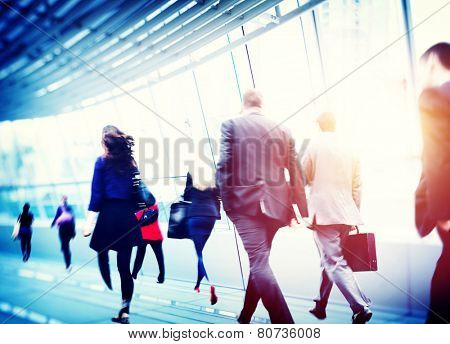 Business People Walking Commuter Corporate Travel Concept