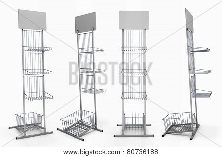 Metal Rack With Baskets For Product Exposition With Blank Shelf From Different Species