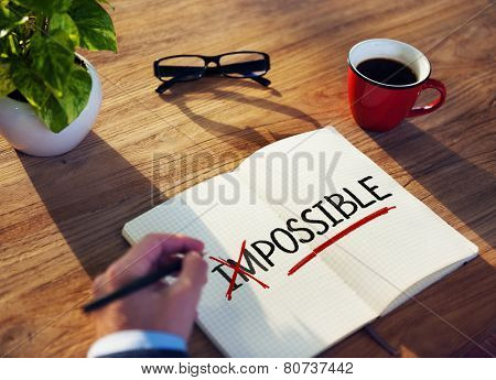 Man with Note Pad and Possibility Concepts