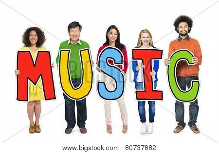 Group of People Standing Holding Music Letter