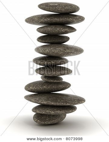 Stability And Zen. Balanced Black Stones Tower