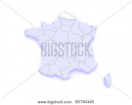 Map of Nord-Pas-de-Calais. France. 3d