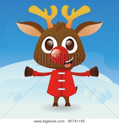 a beautiful reindeer with winter clothes on a winter background