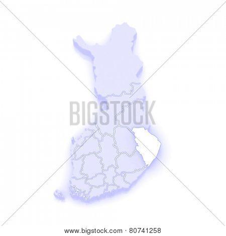 Map of North Karelia. Finland. 3d