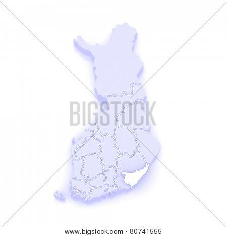 Map of South Karelia. Finland. 3d