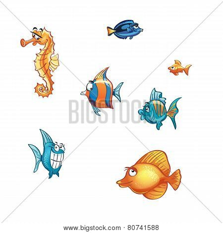 Set of cartoon marine fish and skate.