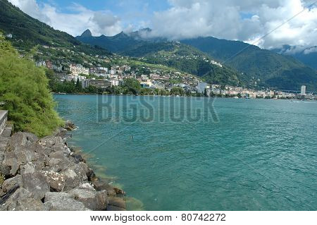 Montreux At Geneve Lake In Switzerland