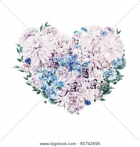Heart Of Blue And Violet Flowers On St Valentines Day