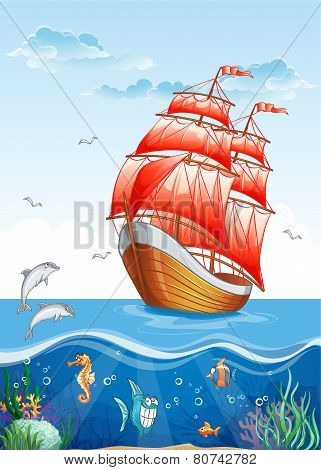 Children's illustration of a sailboat with red sails and the underwater world.