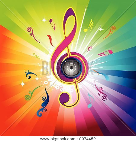 Abstract rainbow background with Violin key