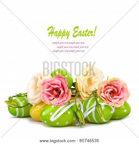 Easter Eggs And Fun Bouquet Of Flowers Isolated On White Background
