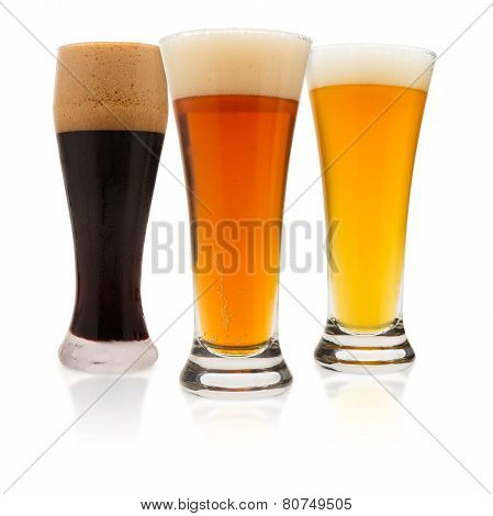 Three Beers On White