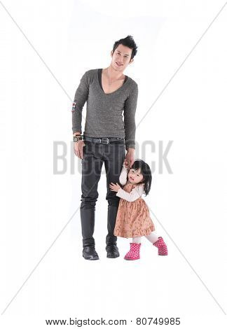 Full body Father and little daughter smiling on white background