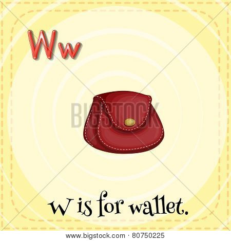 Illustration of a letter w is for wallet
