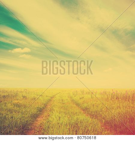country road in the fields, bright fantasy background, retro film filtered, instagram style