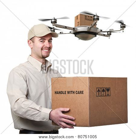 delivery man and drone isolated on white