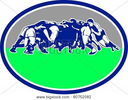 Rugby Players Scrum Oval Retro