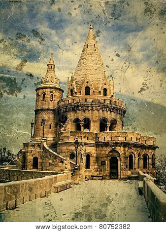 Old Photo With Fisherman's Bastion At Buda Castle In Budapest, Hungary