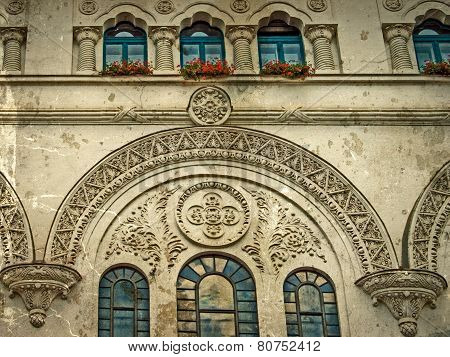 Old Photo With Facade Detail Of City Hall Building From Timisoara, Romania