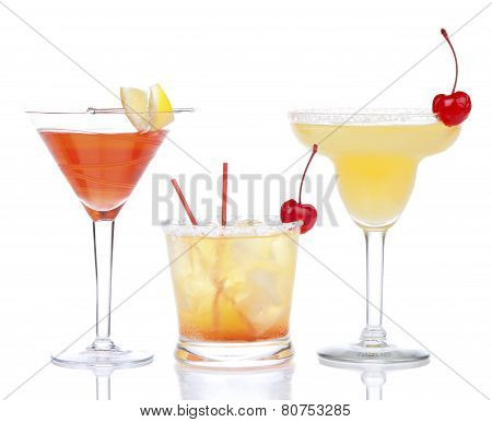 Yellow Red Alcohol Margarita Martini Cocktails Composition