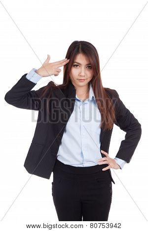 Young Asian Businesswoman Gesturing A Headshot
