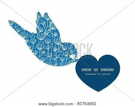 Vector blue white lineart plants birds holding heart silhouette frame pattern invitation greeting ca