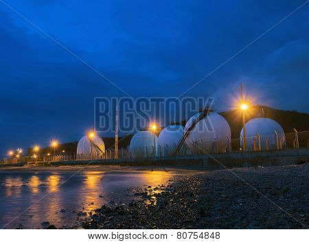 Beautiful Lighting Of Gas Lpg Storage Tank In Petrochemical Industry Estate