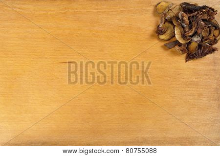 Dried Mushrooms On The Board