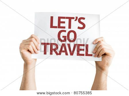 Lets Go Travel card isolated on white background