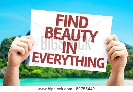 Find Beauty in Everything card with a beach on background