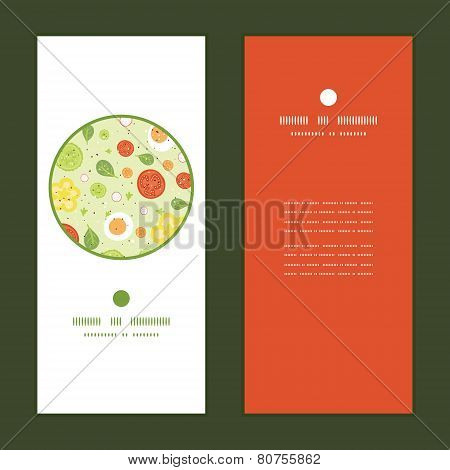 Vector fresh salad vertical round frame pattern invitation greeting cards set