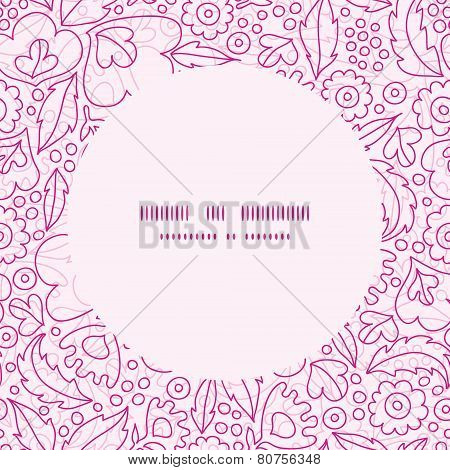 Vector pink flowers lineart frame seamless pattern background