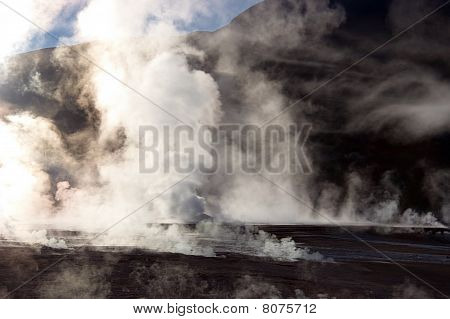 Vapor Rising From Geyser Field, Chile