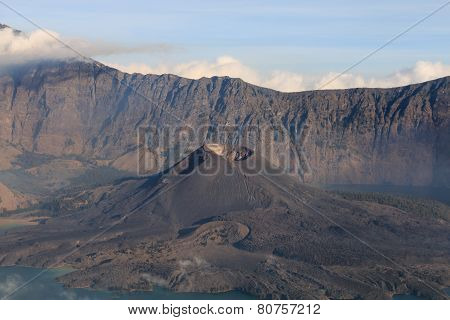 Mount Rinjani Volcano with Barujari active cone