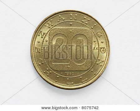 Old Austrian Twenty Schilling Coin (seldom / Pre-euro)