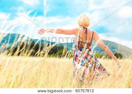 Woman enjoying the nature.